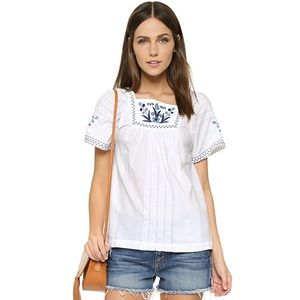 """""""Madewell"""" Embroidered Alma Peasant Top"""
